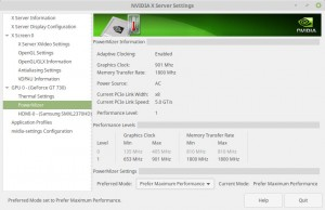 Screenshot of Nvidia X Server settings in maximum performance mode