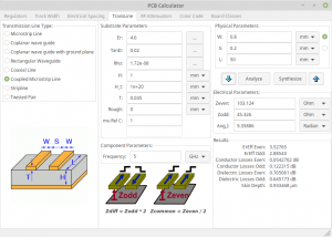 KiCad's PCB calculator screenshot on coupled microstrip line