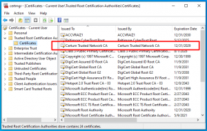 Windows Certificate Manager after examining .cab file