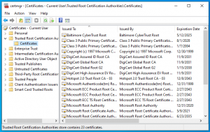 Windows Certificate Manager before examining .cab file